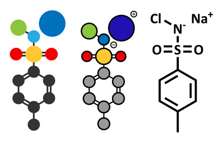 d�sinfectant: Chloramine-T (tosylchloramide) Mol�cule de d�sinfectant. Rendus 2D stylis�s et la formule classique du squelette.