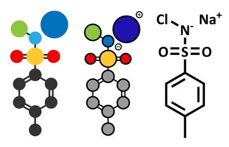 desinfectante: Cloramina-T (tosilcloramida) molécula desinfectante. Representaciones 2D estilizados y fórmula esqueletal convencional.