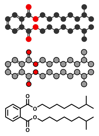 carcinogenic: Diisononyl phthalate (DINP) plasticizer molecule. Stylized 2D renderings and conventional skeletal formula. Illustration