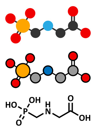 engineered: Glyphosate herbicide molecule. Crops resistant to glyphosate (genetically modified organisms, GMO) have been produced by genetic engineering. Stylized 2D renderings and conventional skeletal formula. Illustration