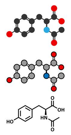 N-acetyl-tyrosine (NALT) molecule. Acetylated form of the amino acid tyrosine. Stylized 2D renderings and conventional skeletal formula.