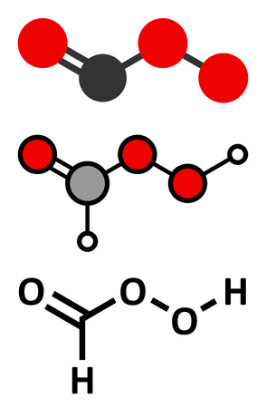 peroxide: Performic acid (PFA) disinfectant molecule. Used as disinfectant and sterilizer. Stylized 2D renderings and conventional skeletal formula. Illustration
