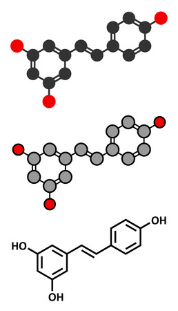 Resveratrol molecule. Present in many plants, including grapes and raspberries. Believed to have a number of positive health effects. Stylized 2D renderings and conventional skeletal formula.