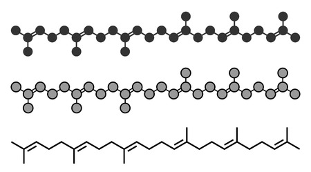Squalene natural hydrocarbon molecule. Found in shark liver oil and number of plant sources. Stylized 2D renderings and conventional skeletal formula.