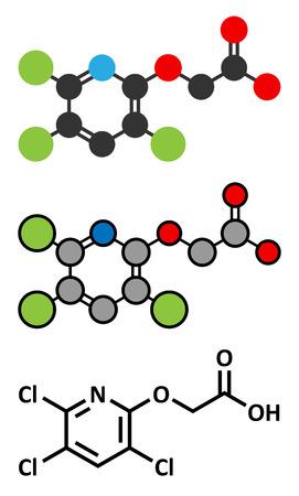herbicide: Triclopyr herbicide (broadleaf weed killer) molecule. Stylized 2D renderings and conventional skeletal formula.
