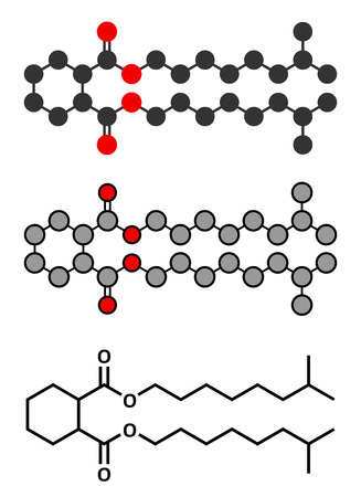 phthalates: 1,2-Cyclohexane dicarboxylic acid diisononyl ester (DINCH) plasticizer molecule. Alternative to phthalates. Stylized 2D renderings and conventional skeletal formula. Illustration