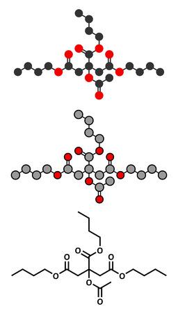 アセチル トリブチル クエン酸 (ATBC) 可塑剤分子。フタル酸系可塑剤の生分解性代替します。様式化された 2D レンダリング、従来の骨格式。  イラスト・ベクター素材