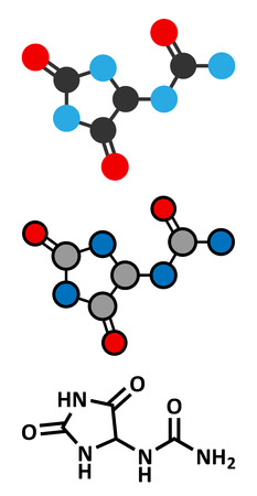 conventional: Allantoin molecule. Often used in cosmetics. Stylized 2D renderings and conventional skeletal formula.