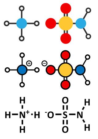 Ammonium sulfamate herbicide (weed killer) molecule. Stylized 2D renderings and conventional skeletal formula. Ilustração