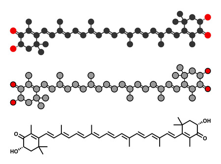 dye: Astaxanthin pigment molecule. Carotenoid responsible for the pink-red color of salmon, lobsters and shrimps. Used as food dye (E161j) and antioxidant food supplement. Stylized 2D renderings and conventional skeletal formula. Illustration