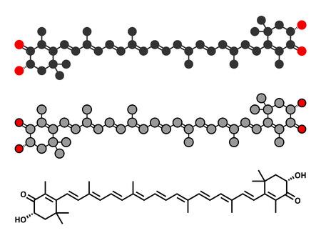 carotenoid: Mol�cula de pigmento astaxantina. Carotenoide responsable del color rosado-rojo de salm�n, langostas y camarones. Se utiliza como colorante alimenticio (E161j) y complemento alimenticio antioxidante. Renderizados en 2D y estilizada f�rmula esquel�tico convencional.