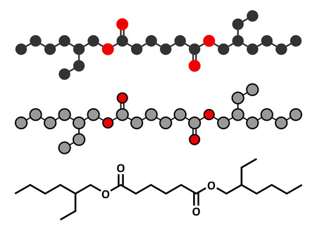Bis(2-ethylhexyl) adipate (DEHA, diisooctyl adipate) plasticizer molecule. Stylized 2D renderings and conventional skeletal formula. Çizim