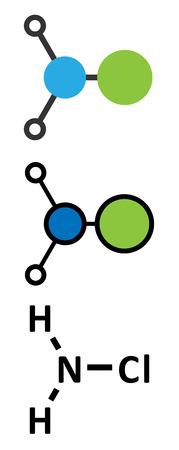 desinfectante: Cloramina (monocloramina) mol�cula desinfectante. F�cilmente se descompone, lo que resulta en la formaci�n de �cido hipocloroso. Renderizados en 2D y estilizada f�rmula esquel�tico convencional.