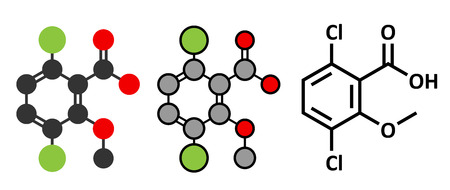Dicamba herbicide molecule. Used in weed control. Stylized 2D renderings and conventional skeletal formula.