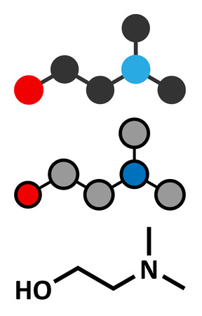 Dimethylaminoethanol (dimethylethanolamine, DMEA, DMAE) molecule. May have beneficial effects on health, including lifespan increase. Stylized 2D renderings and conventional skeletal formula.
