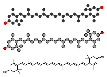 macular: Lutein yellow-orange plant pigment molecule. Used as food and feed additive but also naturally present in many vegetables. Stylized 2D renderings and conventional skeletal formula.