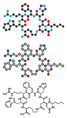aphrodisiac: Melanotan II synthetic tanning drug molecule. Not approved as drug. Stylized 2D renderings and conventional skeletal formula.