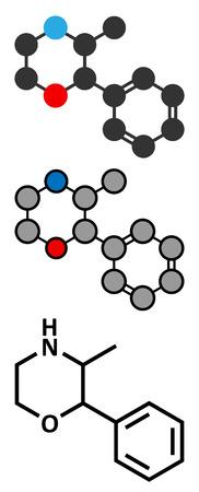 amphetamine: Mol�cula Fenmetracina estimulante drogas (clase anfetamina). Se utiliza como estimulante y supresor del apetito. Renderizados en 2D y estilizada f�rmula esquel�tico convencional. Vectores