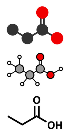 naturally: Propionic acid molecule. Naturally occurring carboxylic acid, used as food preservative. Stylized 2D renderings and conventional skeletal formula.