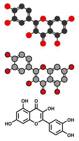 supplementation: Quercetin plant molecule. Stylized 2D renderings and conventional skeletal formula. Illustration