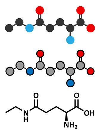 Theanine herbal molecule. Constituent of tea prepared from Camellia sinensis. Also taken as nutritional supplement. Stylized 2D renderings and conventional skeletal formula. Vector