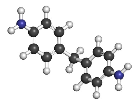 polyurethane: 4,4-methylenedianiline (methylenedianiline, MDA) molecule. Suspected carcinogen, on the list of substances of very high concern. Used in polyurethane production. Atoms are represented as spheres with conventional color coding: hydrogen (white), carbon (g