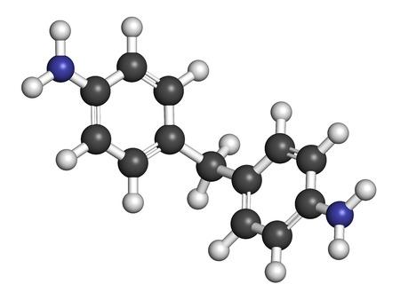 carcinogen: 4,4'-metilendianilina (metilendianilina, MDA) mol�cula. Carcin�geno sospechado, en la lista de sustancias altamente preocupantes. Se utiliza en la producci�n de poliuretano. Los �tomos se representan como esferas con codificaci�n de colores convencionales: hidr�geno (blanco), carbono (g