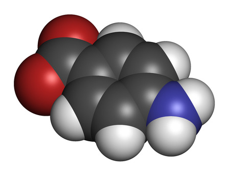 paba: 4-aminobenzoic acid (PABA, aminobenzoate) molecule.  Atoms are represented as spheres with conventional color coding: hydrogen (white), carbon (grey), oxygen (red), nitrogen (blue).