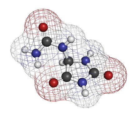 Allantoin molecule. Often used in cosmetics. Atoms are represented as spheres with conventional color coding: hydrogen (white), carbon (grey), oxygen (red), nitrogen (blue). Stock Photo