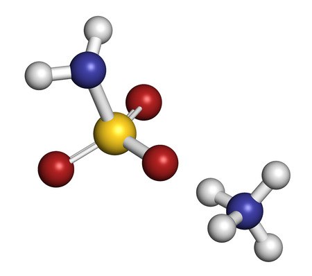 retardant: Ammonium sulfamate herbicide (weed killer) molecule. Atoms are represented as spheres with conventional color coding: hydrogen (white), oxygen (red), nitrogen (blue), sulfur (yellow). Stock Photo