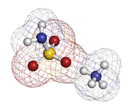 amoniaco: Herbicida sulfamato de amonio (herbicida) molécula. Los átomos se representan como esferas con codificación de colores convencionales: hidrógeno (blanco), oxígeno (rojo), nitrógeno (azul), azufre (amarillo). Foto de archivo