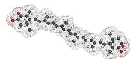 carotenoid: Mol�cula de pigmento astaxantina. Carotenoide responsable del color rosado-rojo de salm�n, langostas y camarones. Se utiliza como colorante alimenticio (E161j) y complemento alimenticio antioxidante. Los �tomos se representan como esferas con codificaci�n de colores convencionales: hidr�geno (blanco), carbo