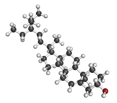 benign: Beta-sitosterol phytosterol molecule. Investigated in treatment of benign prostate hyperplasia (BPH) and high cholesterol levels. Atoms are represented as spheres with conventional color coding: hydrogen (white), carbon (grey), oxygen (red).