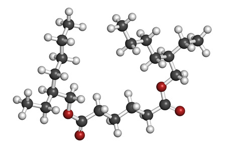 Bis(2-ethylhexyl) adipate (DEHA, diisooctyl adipate) plasticizer molecule. Atoms are represented as spheres with conventional color coding: hydrogen (white), carbon (grey), oxygen (red).