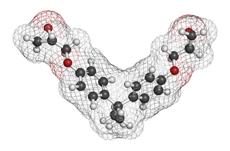 epoxy: Bisphenol A diglycidyl ether (BADGE, DGEBA) epoxy glue constituent molecule. Atoms are represented as spheres with conventional color coding: hydrogen (white), carbon (grey), oxygen (red).