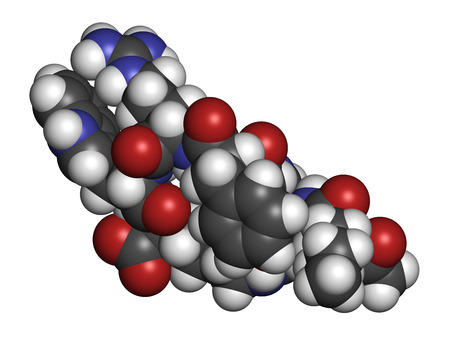 arousal: Bremelanotide female sexual dysfunction drug molecule (investigational). Atoms are represented as spheres with conventional color coding: hydrogen (white), carbon (grey), oxygen (red), nitrogen (blue). Stock Photo