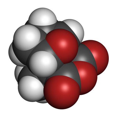 secreted: Cantharidin blister beetle poison molecule. Secreted by blister beetles, spanish fly, soldier beetles, etc. Atoms are represented as spheres with conventional color coding: hydrogen (white), carbon (grey), oxygen (red).