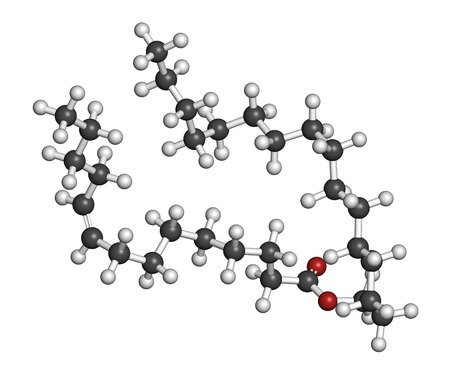 fibromyalgia: Cetyl myristoleate food supplement molecule. Cetylated fatty acid that may have anti-inflammatory properties. Atoms are represented as spheres with conventional color coding: hydrogen (white), carbon (grey), oxygen (red).