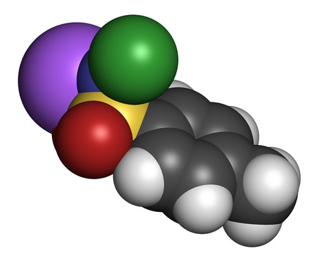 disinfectant: Chloramine-T (tosylchloramide) disinfectant molecule. Atoms are represented as spheres with conventional color coding: hydrogen (white), carbon (grey), oxygen (red), nitrogen (blue), chlorine (green), sodium (purple). Stock Photo