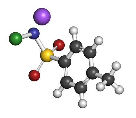 fungicide: Chloramine-T (tosylchloramide) disinfectant molecule. Atoms are represented as spheres with conventional color coding: hydrogen (white), carbon (grey), oxygen (red), nitrogen (blue), chlorine (green), sodium (purple). Stock Photo