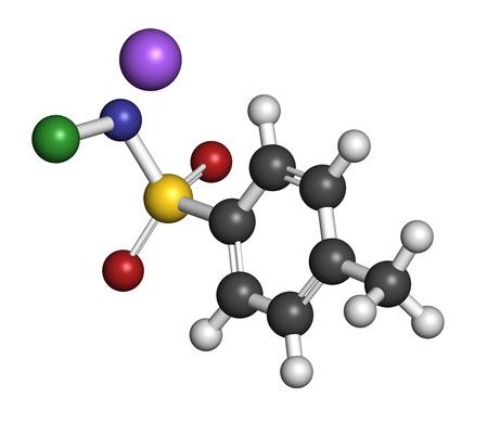desinfectante: Cloramina-T (tosilcloramida) mol�cula desinfectante. Los �tomos se representan como esferas con codificaci�n de colores convencionales: hidr�geno (blanco), carb�n (gris), ox�geno (rojo), nitr�geno (azul), cloro (verde), sodio (p�rpura).