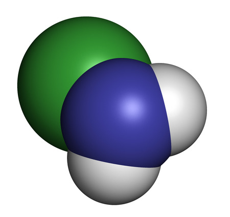 amine: Chloramine (monochloramine) disinfectant molecule. Readily decomposes, resulting in hypochlorous acid formation. Atoms are represented as spheres with conventional color coding: hydrogen (white), nitrogen (blue), chlorine (green). Stock Photo