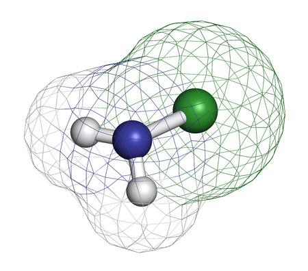 d�sinfectant: Chloramine (monochloramine) mol�cule d�sinfectante. Se d�compose facilement, entra�nant la formation d'acide hypochloreux. Atomes sont repr�sent�s comme des sph�res avec codage couleur classique: l'hydrog�ne (blanc), l'azote (bleu), le chlore (vert).