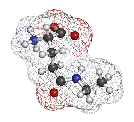 glutamate: Theanine herbal molecule. Constituent of tea prepared from Camellia sinensis. Also taken as nutritional supplement. Atoms are represented as spheres with conventional color coding: hydrogen (white), carbon (grey), oxygen (red), nitrogen (blue).