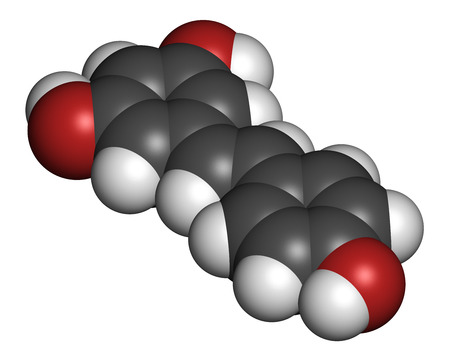 life extension: Resveratrol molecule. Present in many plants, including grapes and raspberries. Believed to have a number of positive health effects. Atoms are represented as spheres with conventional color coding: hydrogen (white), carbon (grey), oxygen (red). Stock Photo