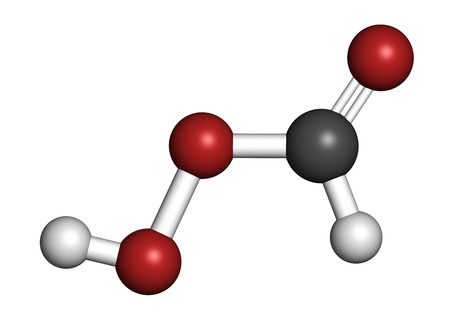 formic: Performic acid (PFA) disinfectant molecule. Used as disinfectant and sterilizer. Atoms are represented as spheres with conventional color coding: hydrogen (white), carbon (grey), oxygen (red).
