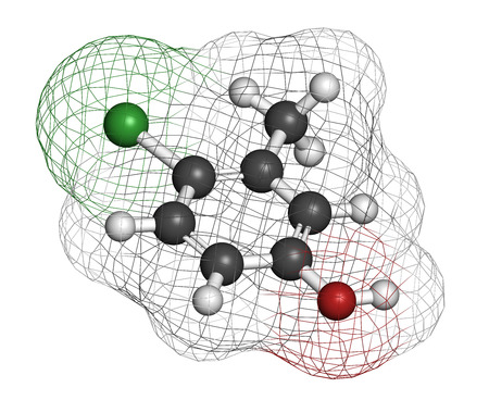 preservative: Chlorocresol (p-chlorocresol) antiseptic and preservative molecule. Atoms are represented as spheres with conventional color coding: hydrogen (white), carbon (grey), oxygen (red), chlorine (green). Stock Photo