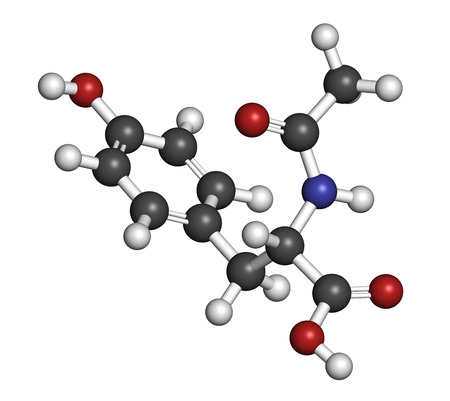 norepinephrine: N-acetyl-tyrosine (NALT) molecule. Acetylated form of the amino acid tyrosine. Atoms are represented as spheres with conventional color coding: hydrogen (white), carbon (grey), oxygen (red), nitrogen (blue).