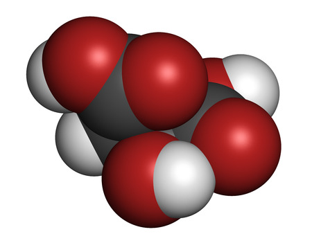 contributes: Malic acid fruit acid molecule. Present in apples, grapes, rhubarb, etc and contributes to the sour taste of these. Atoms are represented as spheres with conventional color coding: hydrogen (white), carbon (grey), oxygen (red).