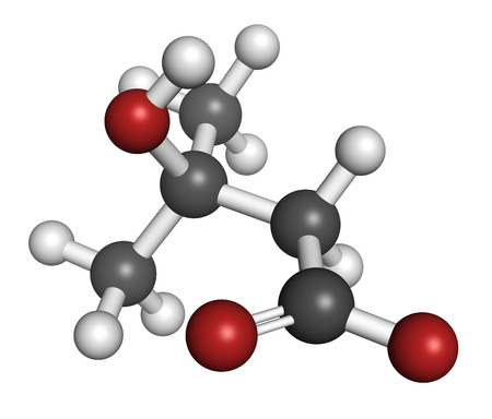 methyl: Beta-hydroxy beta-methylbutyric acid (HMB) leucine metabolite molecule. Used as supplement, may increase strength and muscle mass. Atoms are represented as spheres with conventional color coding: hydrogen (white), carbon (grey), oxygen (red).